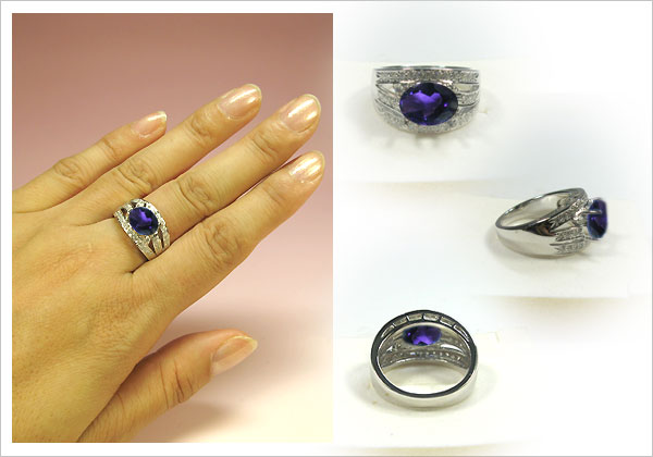 k18ゴールド・アメシストリング・ダイヤモンド・指輪