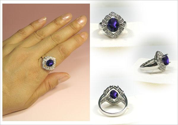 アメシストリング・プラチナ・ダイヤモンド・指輪