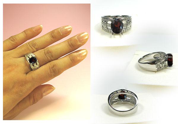 ガーネットリング・k18ゴールド・ダイヤモンド・指輪
