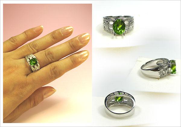 プラチナ900・ペリドットリング・ダイヤモンド・指輪
