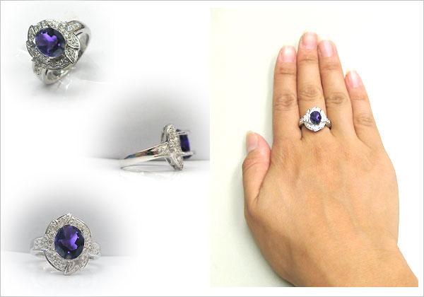 プラチナ・アメシストリング・ダイヤモンド・指輪