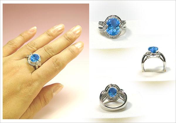 k18ゴールド・ブルートパーズリング・ダイヤモンド・指輪