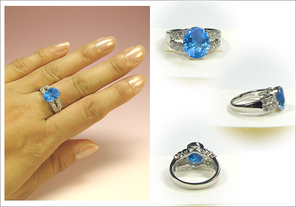 k18ゴールド・ブルートパーズリング・ダイヤモンド・ハーフエタニティリング