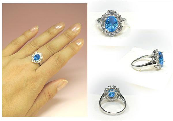 ブルートパーズリング・k18ゴールド・ダイヤモンド・指輪