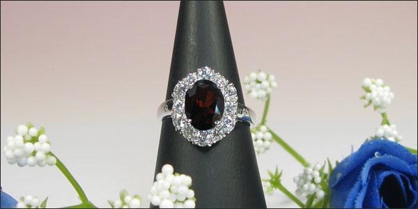 ガーネットリング・プラチナ・ダイヤモンド・指輪