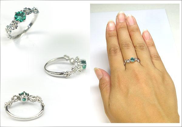 婚約指輪:エメラルド:リング:K10:大粒:エンゲージリング