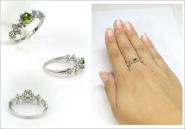 婚約指輪:ペリドット:リング:プラチナ:大粒:エンゲージリング