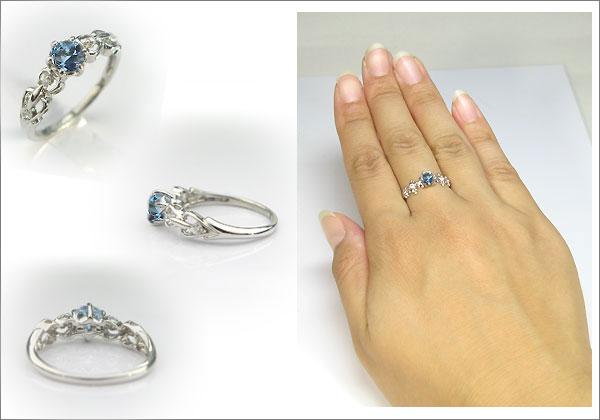 婚約指輪:サンタマリアアクアマリン:リング:K18:大粒:エンゲージリング