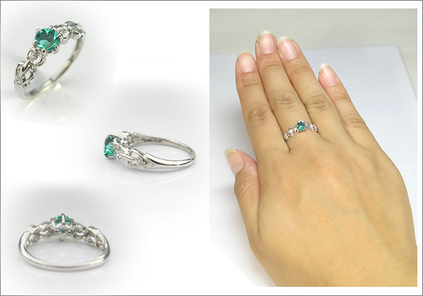 婚約指輪:エメラルド:リング:プラチナ:大粒:エンゲージリング