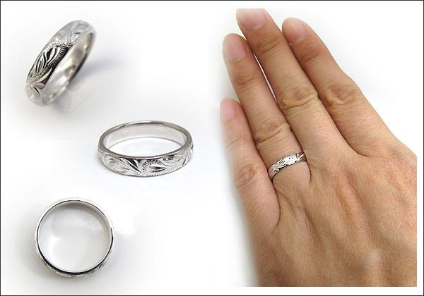 彫金 プラチナ 指輪