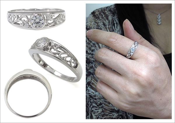 婚約指輪 唐草 ダイヤモンドリング
