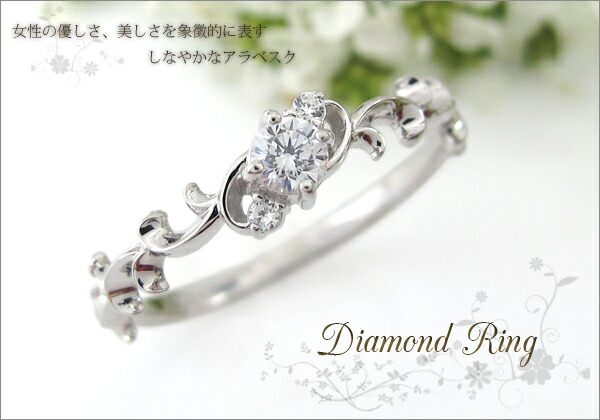 唐草,ダイヤモンド,指輪