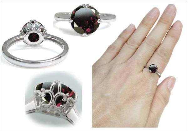 プラチナ ロードライトガーネット 指輪