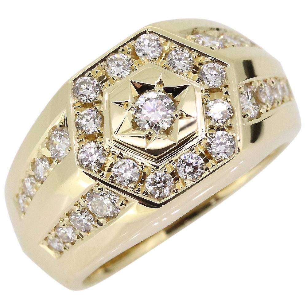 ダイヤモンド 印台 指輪 メンズ