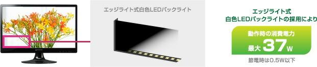 白色LEDバックライトを搭載、最大37Wの低消費電力