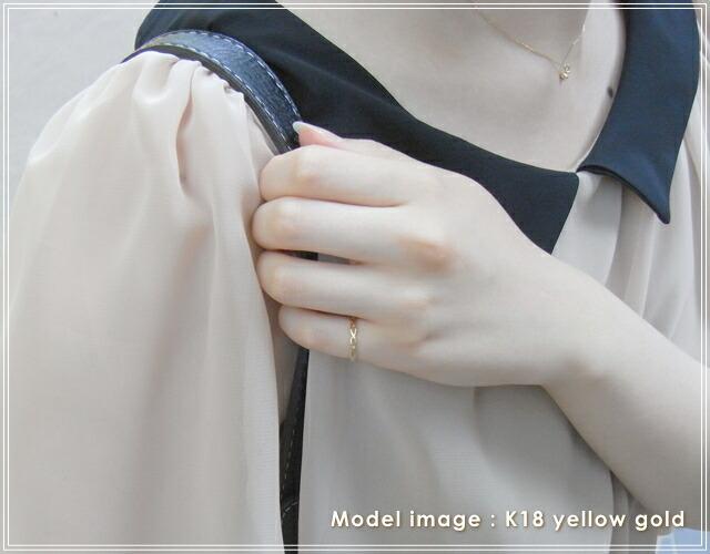 華奢でシンプルな18Kピンキーリング、K18ゴールド(18金)レディースの指輪の画像9