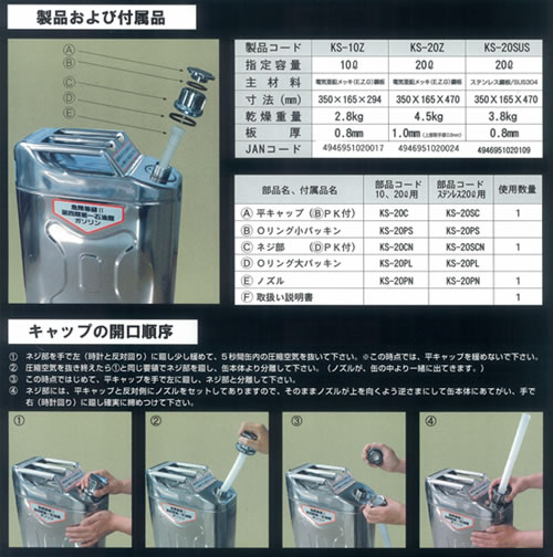 ガソリン携行缶付属品およびキャップの開口順序