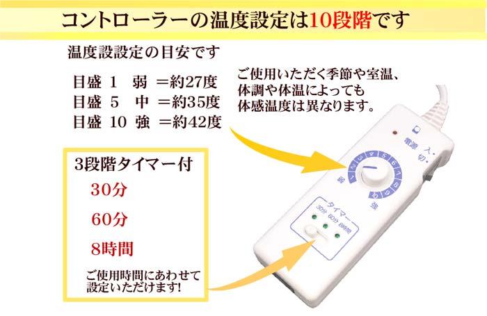 コントローラーの温度設定は10段階です