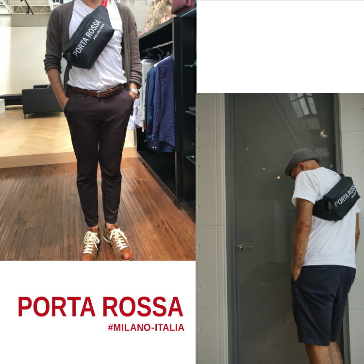 赤いテープとビッグロゴが特徴のイタリア製のPVC加工素材バッグは、もちろんイタリアの景色に自然に溶け込みます。機能性もバツグン、軽くてやわらかい素材は肌になじんで身に付けている事を忘れてしまいます。