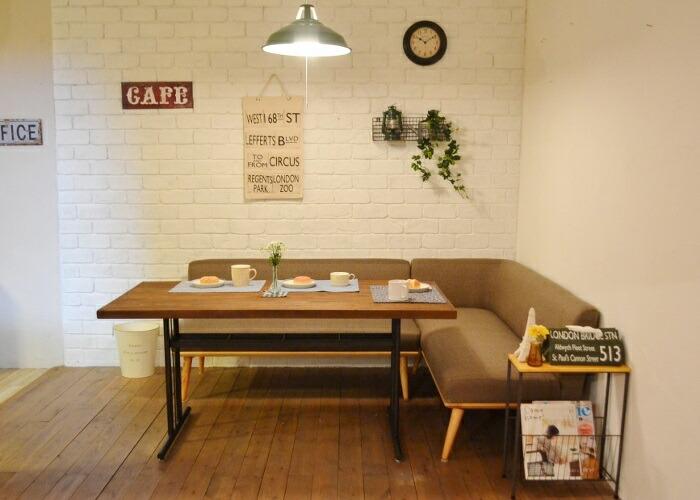 LDセットPRパイン古材140BR パイン古材のテーブルとL型ファブリックソファのセット