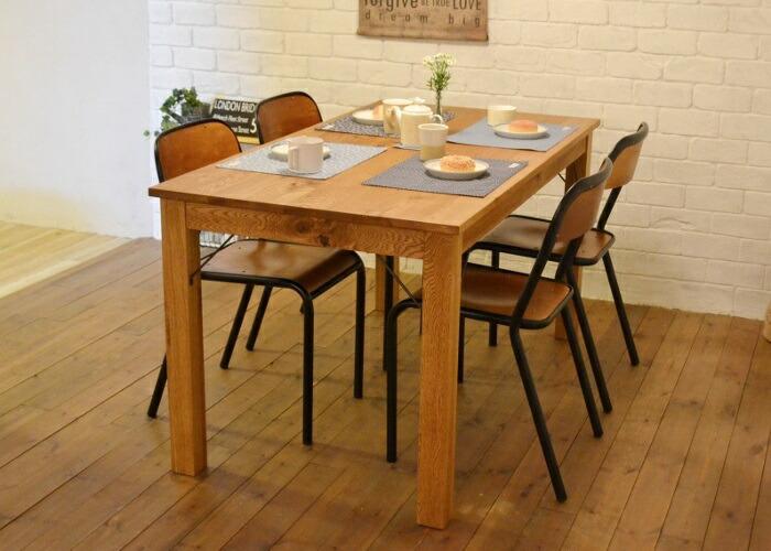 ダイニングセットJHwf1【Aチェア4脚】 アイアンチェアとオークの無垢材でできたテーブルのセット(イス4脚)