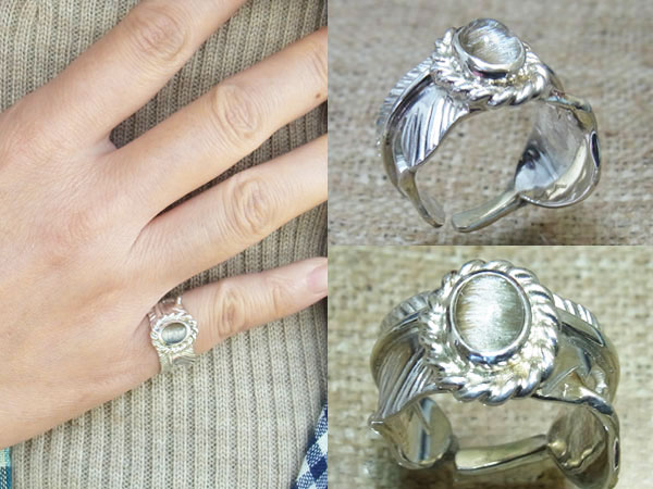 激レア天然石、ブルカイトキャッツアイ ハンドメイドシルバー イーグルフェザーリング(指輪)