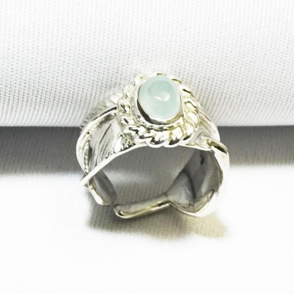 レア天然石、カリビアンカルセドニー ハンドメイドシルバー イーグルフェザーリング 指輪