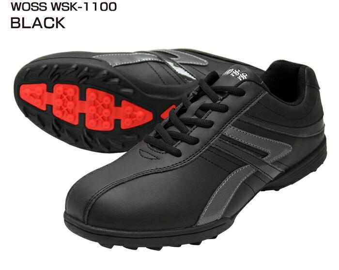 ゴルフシューズ スパイクレス【WOSS/ウォズ】wsk-1100ブラック