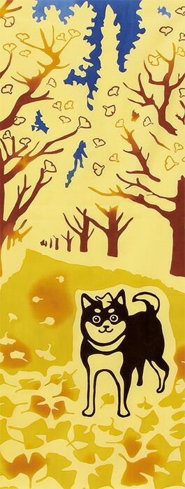 銀杏並木と柴犬