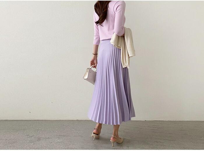 春コーデのマストアイテム♪エレガントバンディングプリーツスカート