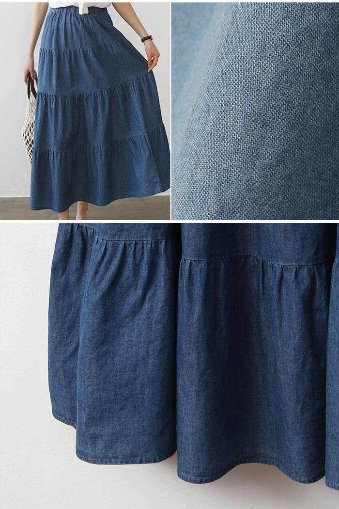 デニムの風合いで夏らしく♪シャーリングデニムロングスカート