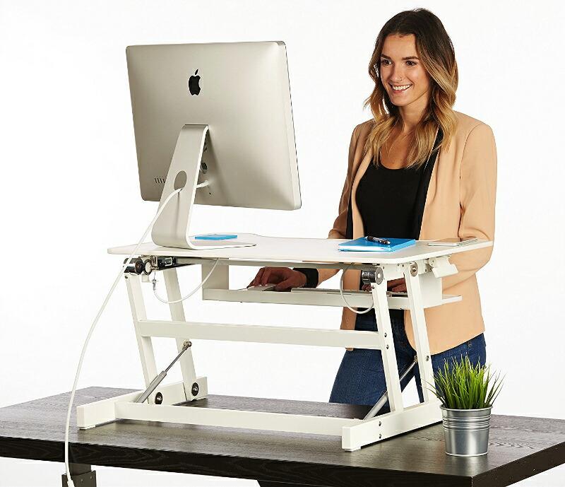 【楽天市場】スタンディングデスク 簡単に高さ調節ができる机 作業効率up&腰痛解消!【送料無料 組み立て不要