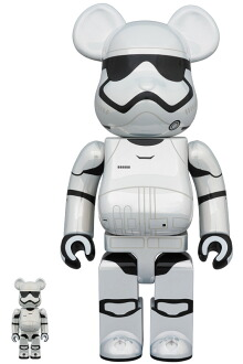 BE@RBRICK STAR WARS(TM) FIRST ORDER STORMTROOPER(TM) (The Force Awakens Ver.) Chrome Ver. 100% & 400%