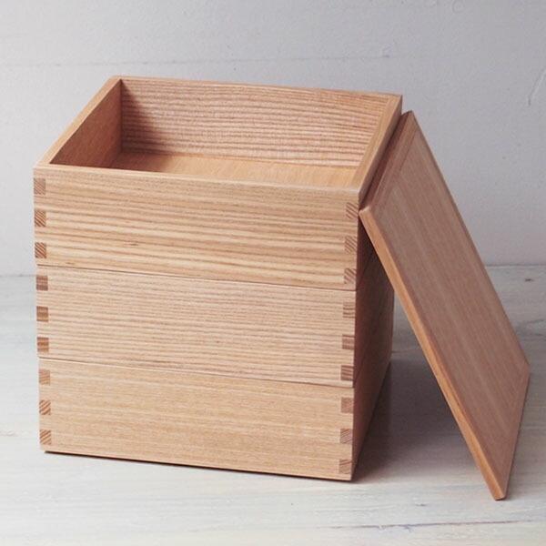 松屋漆器店 白木 6寸三段重 内白木