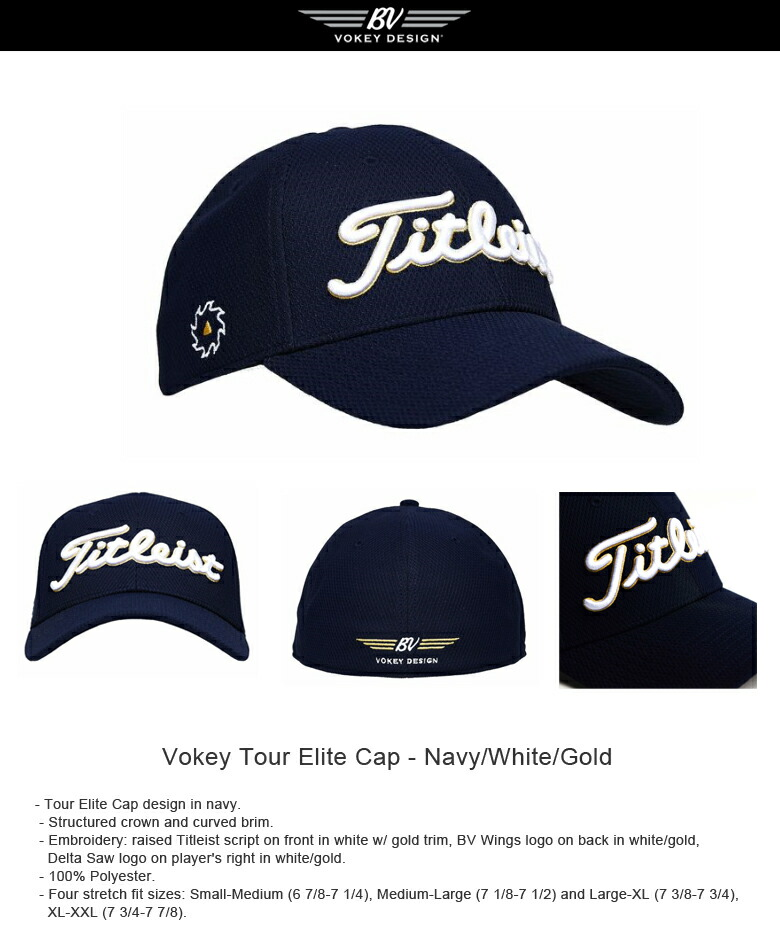 3c4e1e51162 Titleist Vokey 限定モデル Tour Elite Cap 左利き Navy White Gold ...