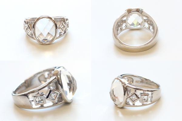 ヒマラヤ水晶リングオーバル デザインを色々な角度から画像