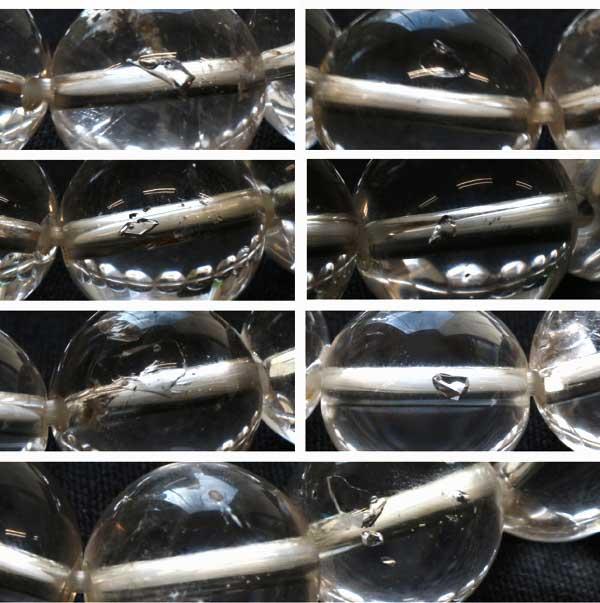 水入り水晶13.5-15mmブレス内径17cmの水が入った部分をアップにして撮影