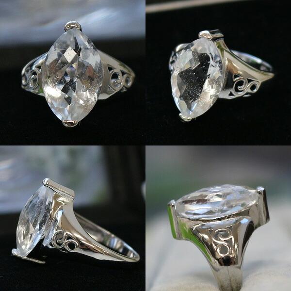 メール便不可 ダイヤ型ヒマラヤ水晶リング18KGFコーティング (天然石 パワーストーン アクセサリー 指輪 7号 9号 13号)