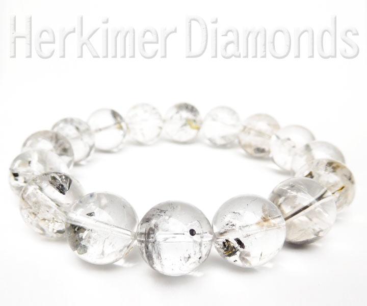 アメリカ産水入りハーキマーダイヤモンド(ハーキマー水晶)ブレスレット約13.5mm 内径約17cm(天然石 パワーストーン アクセサリー) バリエーションAアングル別カット1