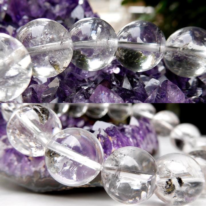 アメリカ産水入りハーキマーダイヤモンド(ハーキマー水晶)ブレスレット約13.5mm 内径約17cm(天然石 パワーストーン アクセサリー) バリエーションA着用イメージとギフトイメージ