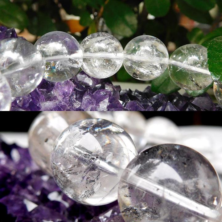 アメリカ産水入りハーキマーダイヤモンド(ハーキマー水晶)ブレスレット約13.5mm 内径約17cm(天然石 パワーストーン アクセサリー) バリエーションBアングル別カット1