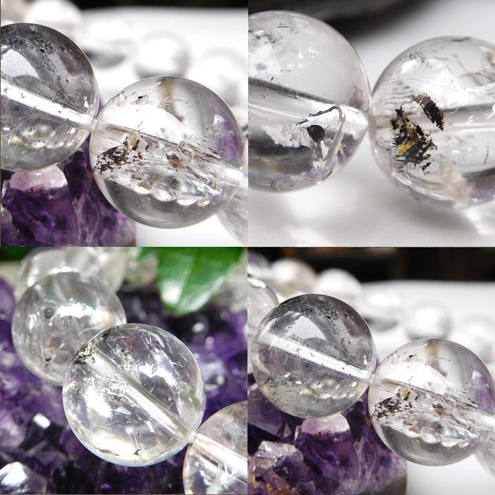 アメリカ産水入りハーキマーダイヤモンド(ハーキマー水晶)ブレスレット約13.5mm 内径約17cm(天然石 パワーストーン アクセサリー) バリエーションBアングル別カット2