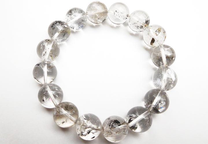 アメリカ産水入りハーキマーダイヤモンド(ハーキマー水晶)ブレスレット約13.5mm 内径約17cm(天然石 パワーストーン アクセサリー) バリエーションB着用イメージとギフトイメージ