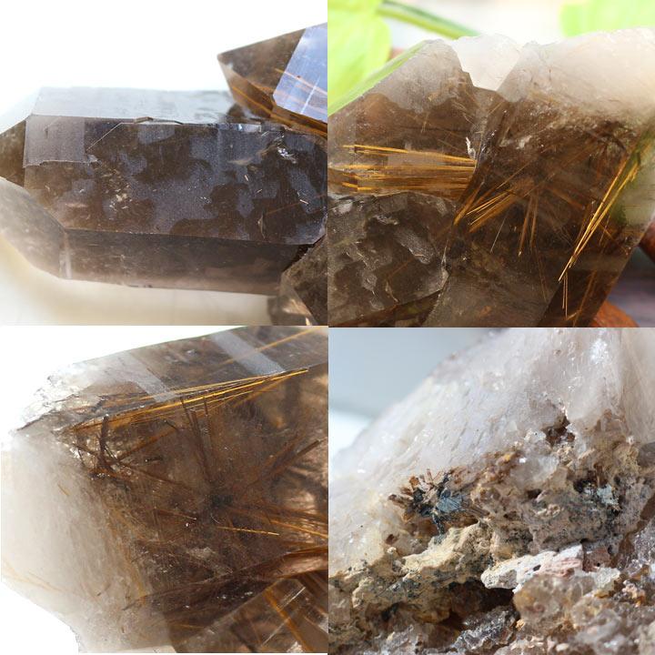 原石 ブラジル産スモーキーゴールデンルチルクォーツ(天然石 パワーストーン 置き物 置き石)アングル別カット2