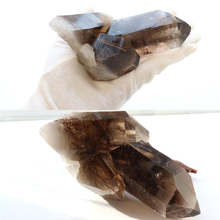 原石 ブラジル産スモーキーゴールデンルチルクォーツ(天然石 パワーストーン 置き物 置き石)手にのせたイメージと逆光で撮影