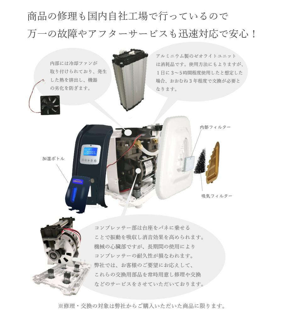 高濃度酸素発生器 アフターサービス