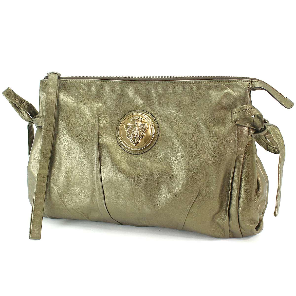 510dbdb7e GUCCI Hysteria Clutch Bag Metallic khaki Leather 197015 001364 ...