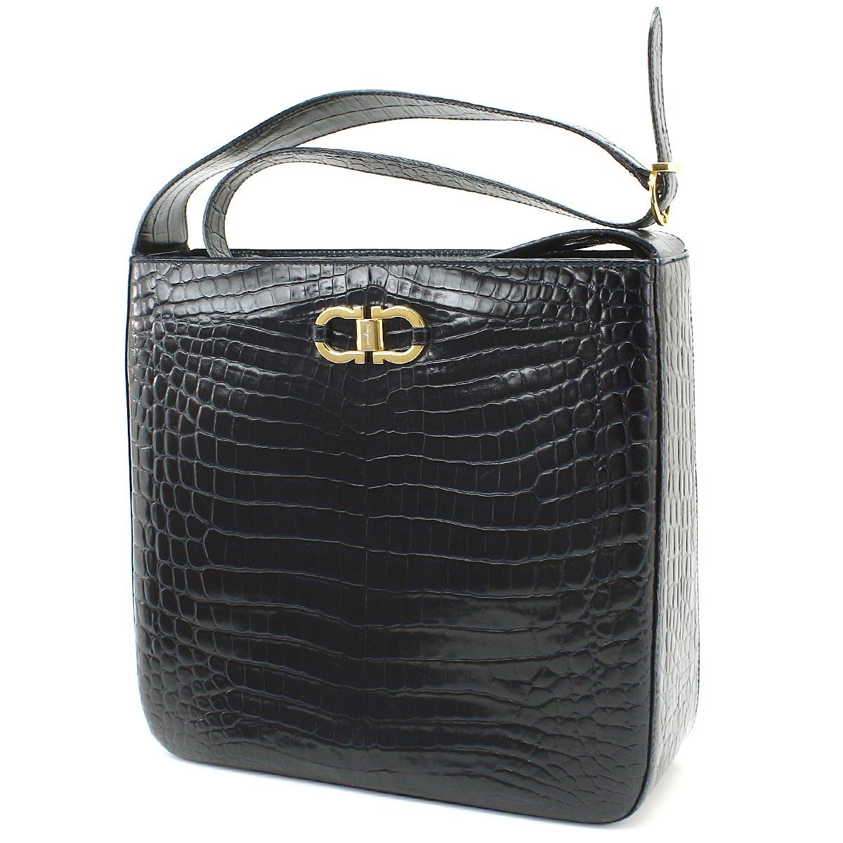 4b00946c78 Auth Salvatore Ferragamo Gancini Shoulder Bag Leather Embossed Black ...