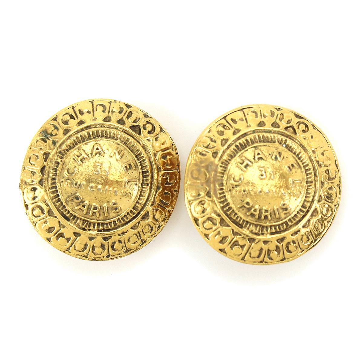 329c96ac3 Details about Auth CHANEL Round Earrings Gold Accessories 90064593