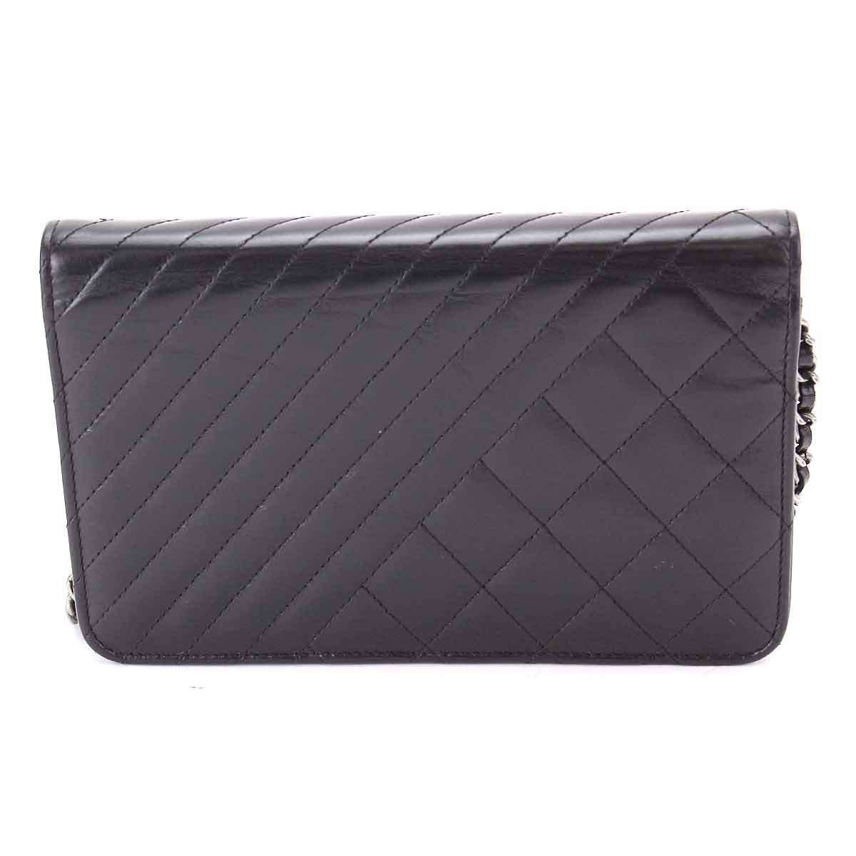 2bd64af78204c2 Details about Auth CHANEL COCO BOY Chain Long Wallet Leather Black A80649  90066197